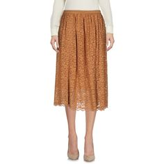 Marella 3/4 Length Skirt (8.095 RUB) ❤ liked on Polyvore featuring skirts, camel, lacy skirt, zipper skirt, knee length lace skirt, marella and lace skirts