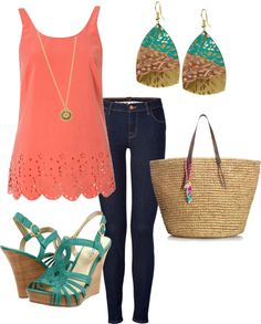 """Coral & Turquoise"" by totuguita on Polyvore"