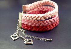 ombre bracelet | Ombre Bracelet, Pink Suede Bracelet, Heart Bracelet, Braided Bracelet ...