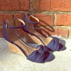 Blue canvas wedge open toe ankle strap sandals sz6 Navy blue wedges- peep toe ankle strap Mix no.6 Shoes Wedges