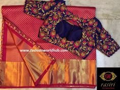 Beautiful Maggam work blouse designs by Rasiri. Kerala Saree Blouse Designs, Fancy Blouse Designs, Bridal Blouse Designs, Blouse Neck Designs, Hand Work Blouse Design, Maggam Work Designs, Designer Blouse Patterns, Maggam Works, Purple Blouse