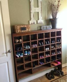 Build a Vintage Mail Sorter Shoe Cubby how to build a vintage style mail sorter to organize shoes Remodelaholic Shoe Storage Design, Diy Shoe Storage, Diy Shoe Shelf, Coat And Shoe Storage, Paint Storage, Shoe Storage Cabinet, Closet Shelves, Craft Storage, Storage Cabinets