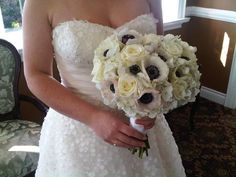 black and white anemone with hydrangea and roses bouquet