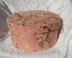 Vintage Hat Box, Large Cloth Padded Damask Covered.