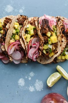 slow cooker barbacoa beef tacos with pickled onions and pineapple pico I howsweeteats.com