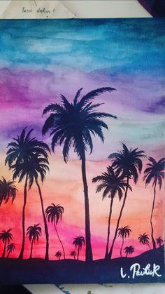 Aquarelle and black palms ❤