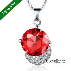 Find More Pendant Necklaces Information about Sale Sterling Silver NecklaceS&Pendants  New 2015 Korean Style Round Red/Blue/Purple Crystal Zircon For Girls Wedding Gifts N752,High Quality zircon black,China crystal web Suppliers, Cheap crystal string from ULove Fashion Jewelry Store on Aliexpress.com