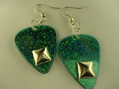 Teal Guitar Pick Earrings With Studs by thejewelrydream on Etsy, $6.99