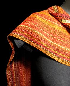 hand woven designer scarf bright red orange rust by LoomOnTheLake, $195.00