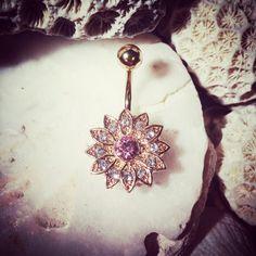Gänseblümchen Jewelled Bauch Goldbarren | 14G Floral Nabel Bar rosa Blume Bauchnabel Gem Nabel Ring Strass Crystal Bauch Ring Bauchnabel Ring
