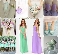 Mint and Lilac color palette that backless brides made dress