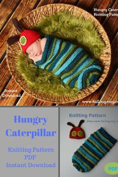 This knitting pattern for the Hungry Caterpillar cocoon and hat is adorable. It would be so sweet for newborn photo shoot #knitting #hungarycaterpillar #affiliate #newbornphoto #knittingpattern #instantdownlaod #knittingcaterpillar #etsy