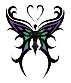 Tribal Butterfly Tattoo Designs › Cool Purple Green Tribal Butterfly Tattoo Sketch