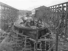 https://flic.kr/p/saSWtP | Port Arthur Shipbuilding Co. Dry Docks | Date: c. 1910s Description: Ship under construction at the Port Arthur Shipbuilding Co. Boats would be constructed in the dry dock and when they were done, it would be flooded and the boat would float out into its new life on Lake Superior. Accession No.: 976.90.83