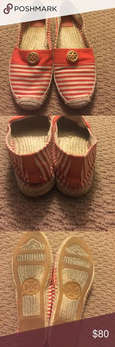 Tory Burch flat espadrilles orange and white Tory Burch flat espadrilles. Orange with white stripes, gold Tory emblem. Size 10 but fits a 9 1/2. Rubber mixed bottom, cute spring and summer shoe!! Tory Burch Shoes Espadrilles