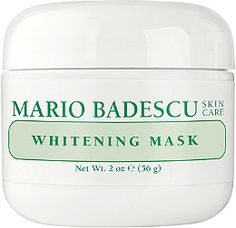 Mario Badescu Whitening Mask is a hydrating mask that will help brighten uneven skin tones and gently minimize the look of old acne scars and discolorations from the sun.
