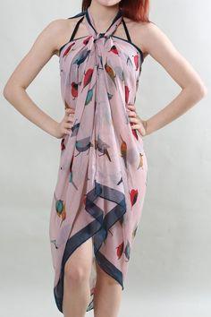 Pareo Sarong «Bunter Vogel» rosa