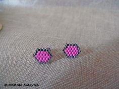 Boucles d'oreilles clous perles Miyuki tissée main Bohochic Bohostyle Bohemian Argenté et rose : Boucles d'oreille par m-comme-maryna