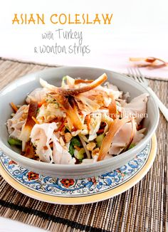 Asian Coleslaw with Turkey and wonton strips | in my Red Kitchen