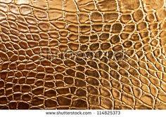 Tint Golden Crocodile Skin Texture, closeup - stock photo