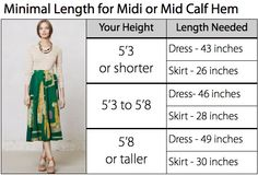 Guide to help you figure out the exact length dress or skirt you will need for any hem length. From Mode-sty blog.