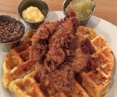 Chicken & Waffles served with Bourbon-Pecan Syrup, Honey Butter and ...