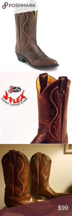 """Make an offer! Justin womens Cowboy Boots - size 7 STYLE:#JUS-L4937 DESCRIPTION:COFFEE SALTILLO with COFFEE SALTILLO top.  LADIES' WESTERN FASHION BOOTSSIZE:7B COLOR:COFFEE LEATHER:SALTILLO COWHIDE TOE:J6 or Medium Round toe HEEL:M 1 5/8 Long Base Riding heel HEIGHT:11"""" WELT:SINGLE STITCHEDINSOLE:J-FLEX® COMFORT SYSTEM OUTSOLE:LEATHER  Excellent overall condition... general light wear...worn twice. Just too tight for me.  Please make an offer!  I'd love to see these…"""