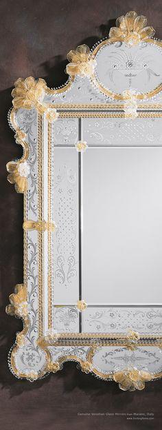 Espejo  de cristal de Murano italiano