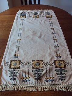 Vintage Sunflowers Arts and Crafts Embroidered Linen Table Runner Stickley Era | eBay