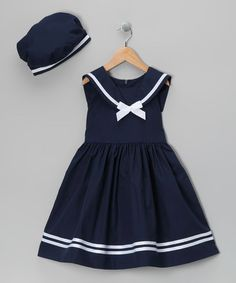 Loving this Navy Dress & Beret - Infant & Kids on #zulily! #zulilyfinds