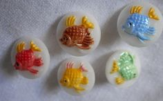 Set of 5 VINTAGE Small Glass Painted Fish Childrens by abandc