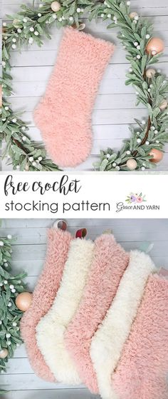 Free Crochet Stocking Pattern Always wanted to learn to knit, however uncertain where do you start? This kind of Total Beginner Knitting Series is exa. Crochet Christmas Stocking Pattern, Crochet Stocking, Crochet Christmas Gifts, Holiday Crochet, Christmas Knitting, Crochet Gifts, Crochet Yarn, Crochet Home, Free Crochet