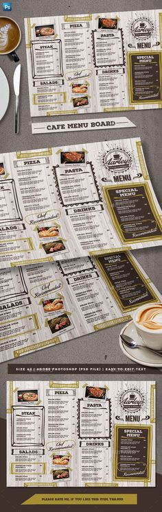Cafe Menu Board — Photoshop PSD #steak #grey • Available here ➝ https://graphicriver.net/item/cafe-menu-board/21077214?ref=pxcr