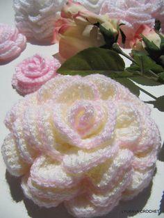 crochet big rose | Crochet Pattern Rose Flower Tutorial, Beautiful Crochet Big Rose ...