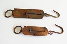 Two Vintage Pocket Balance Fish scale Postal stamp Weighing Scale Brass and iron Hook Industrial Rustic Decor Salter's by EbyVintage on Etsy