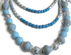 Silver Tone Blue and Gray Multi Strand Adjustable by SharkysWaters, $35.00