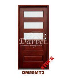 DM55MT3 3 Lite Contemporary Mist Glass Exterior Wood Mahogany Door | Darpet Interior Doors for Chicago