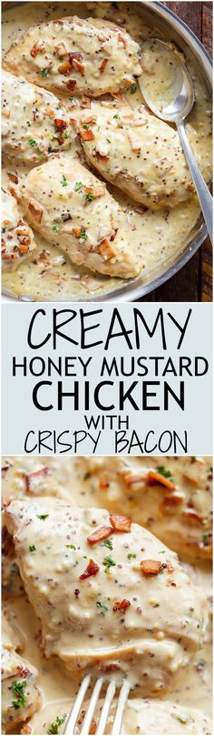 A deliciously Creamy Honey Mustard Chicken with crispy bacon pieces will become your new favourite dinner -- flour less and low carb WITH dairy free options! | cafedelites.com