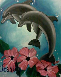 teen canvas art for bedroom of dolphins  http://www.creativemuralsofdallas.com/