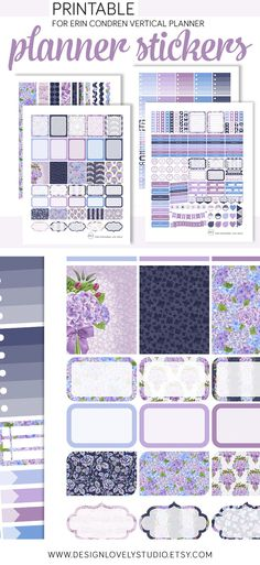 Vertical Printable Planner Stickers Weekly Set Blue Purple Hydrangea Flower Stickers Summer Planner Printable Stickers Digital Washi - Design Lovely Studio #erincondren #erincondrenplanner #erincondrenstickers #eclp #erincondrenlifeplanner #lifeplanner #weloveec