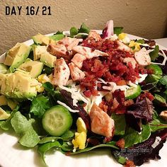 Tip: if you plan your food intake right throughout the day you can enjoy a pretty killer cob salad for dinner topped with tons of meat and home made balsamic sauce! Oh my gosh I'm in heaven!