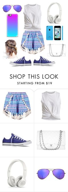 """""""Glamorous"""" by nosaj14 ❤ liked on Polyvore featuring Boohoo, VILA, Converse, Chanel and Ray-Ban"""