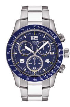 Tissot V8 Men's Quartz Blue Dial Watch with Stainless Steel Bracelet