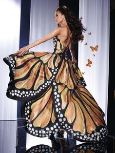 Hand Painted Dresses | ... view of the Panoply 14584 Hand Painted Butterfly High Low Dress image