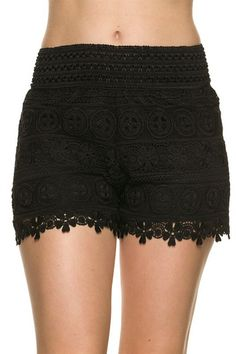 Enjoy getting dressed in the morning with these black lace crochetshorts with banded waist. They are the perfect pair for summer days or causal date nights! Bl