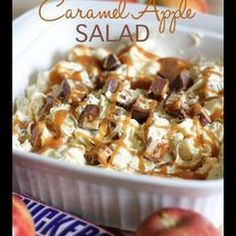 Snickers Carmel Apple Salad - adding pudding mix helps prevent watery leftovers!