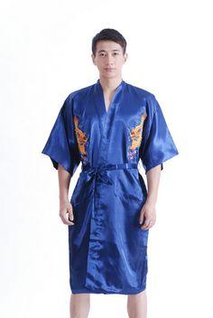 Navy blue Chinese  tradition Devise Man Hotel robe Kimono gown sleepwear with Dragon YF1310