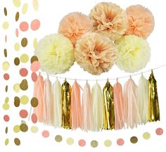 Peach Baby Girl Baby Shower Decorations Tassel Garland /Party Decorations in Cream Peach Champagne Girl First Birthday Decorations Tissue Paper Pom Pom Circle Paper Garland *** Learn more by visiting the image link. (This is an affiliate link and I receive a commission for the sales)