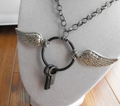 Aviator's Keys necklace. Steampunk inspired. chain is 24 inches long, and gun metal grey with a matching lobster clasp. $25.50 #jewelry #steampunk