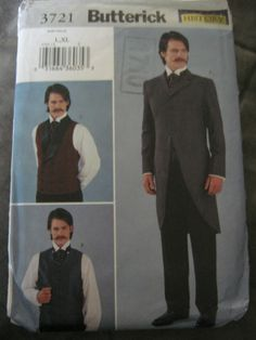 Butterick 3721 Mens Victorian Western Steampunk  Frock Morning Coat Sewing Pattern Size L XL